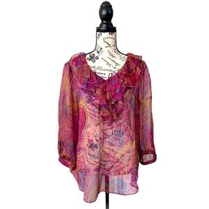 LRL purple/brown ruffle floral 3/4 sleeve sheer L